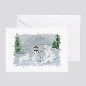 Great Pyrenees Snow Fun Greeting Cards