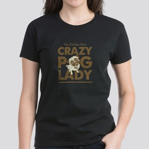 Crazy Pug Lady T Shirt and Items - Funny Women's P