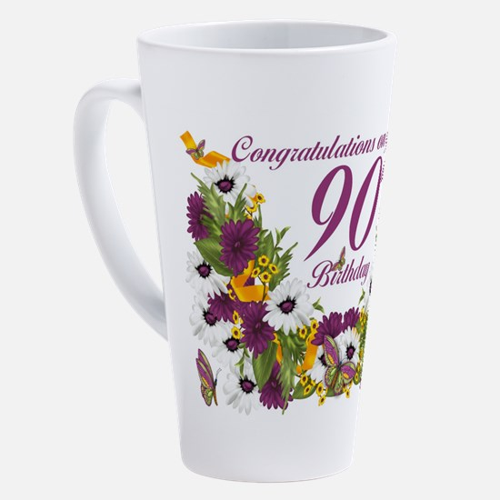 Cute 90th birthday 17 oz Latte Mug