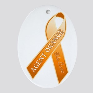 AO Orange Ribbon Oval Ornament
