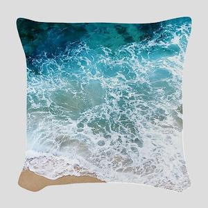 Water Beach Woven Throw Pillow