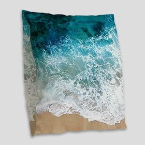 Water Beach Burlap Throw Pillow