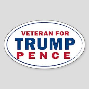 Veteran For Trump Pence Sticker (Oval)