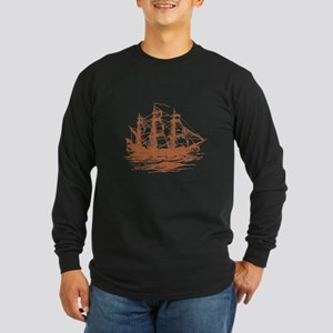 Vintage Clipper Ship Long Sleeve Dark T-Shirt