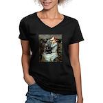 Ophelias Cocker Women's V-Neck Dark T-Shirt