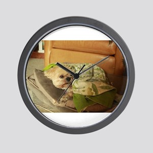 Koko blond Lhasa apso in dog bed and gr Wall Clock