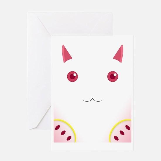 Cute Cat 3 face pink Greeting Card