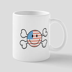 American Flag Smiley & Crossbones Mug