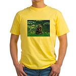 Lilies (5)/Cocker (Blk) Yellow T-Shirt