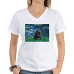 Lilies (5)/Cocker (Blk) Women's V-Neck T-Shirt