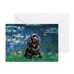 Lilies (5)/Cocker (Blk) Greeting Cards (Pk of 10)