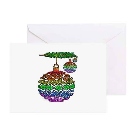 XMAS ORNAMENTS RAINBOW Greeting Card