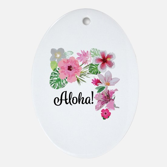 Unique Hawaiian flowers Oval Ornament
