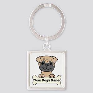 Personalized Pug Square Keychain