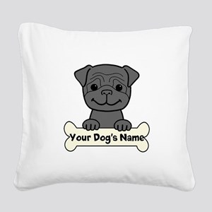 Personalized Pug Square Canvas Pillow