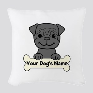 Personalized Pug Woven Throw Pillow