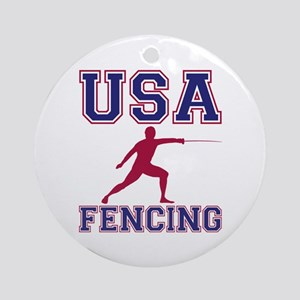 USA Fencing Round Ornament