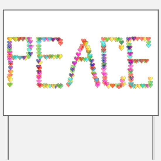 Peace Hearts Yard Sign