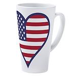 American Flag Heart 17 Oz Latte Mug