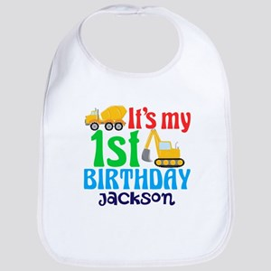 1st Birthday Construction Baby Bib