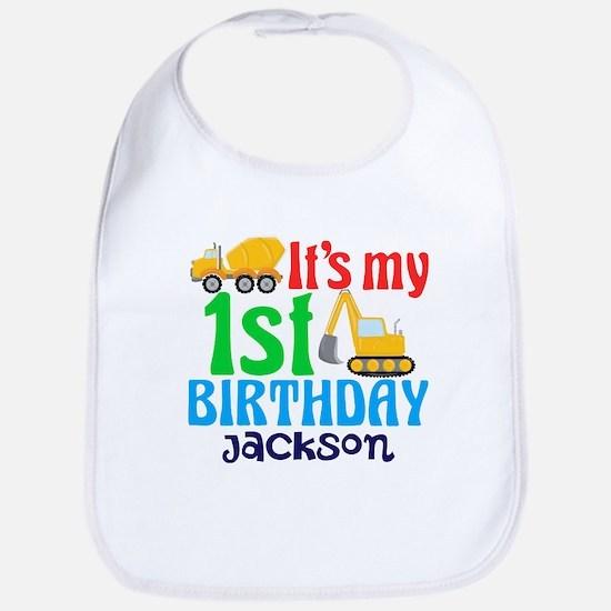1st Birthday Construction Baby Bib