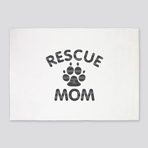 Rescue Dog Mom 5'x7'Area Rug