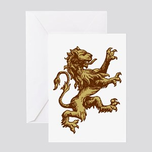 Renaissance Lion (gold) Greeting Card