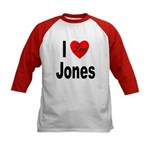 I Love Jones (Front) Kids Baseball Jersey