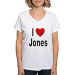 I Love Jones (Front) Women's V-Neck T-Shirt