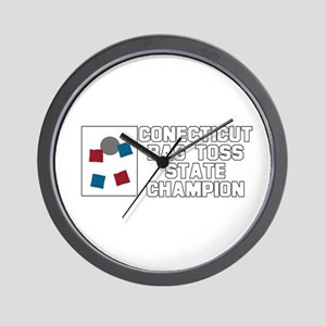 Connecticut Bag Toss State Ch Wall Clock