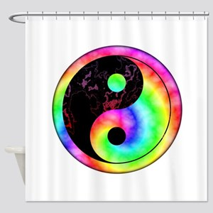 Rainbow Swirl Yin Yang Symbol Shower Curtain