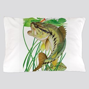 Largemouth Bass with Lily Pads Pillow Case