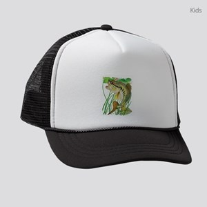 Largemouth Bass with Lily Pads Kids Trucker hat