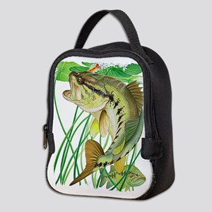 Largemouth Bass with Lily Pads Neoprene Lunch Bag