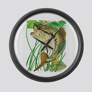 Largemouth Bass with Lily Pads Large Wall Clock