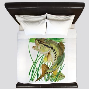 Largemouth Bass with Lily Pads King Duvet