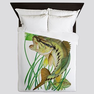 Largemouth Bass with Lily Pads Queen Duvet