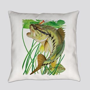 Largemouth Bass with Lily Pads Everyday Pillow