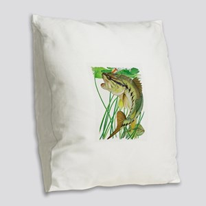 Largemouth Bass with Lily Pads Burlap Throw Pillow