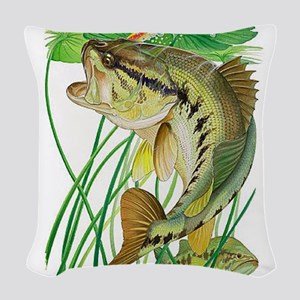 Largemouth Bass with Lily Pads Woven Throw Pillow