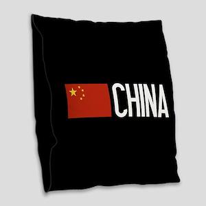 China: Chinese Flag & China Burlap Throw Pillow