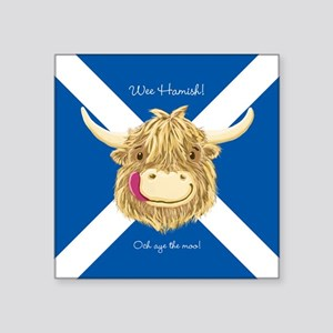Wee Hamish Happy Scottish Cow (Saltire) Sticker