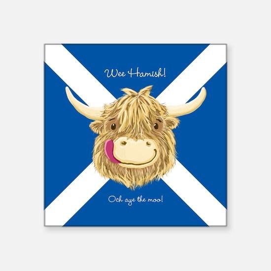 Wee Hamish Happy Scottish Cow (Saltire) Sticker