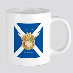 Wee Hamish Happy Scottish Cow (Saltire) Mugs