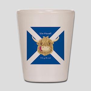 Wee Hamish Happy Scottish Cow (Saltire) Shot Glass