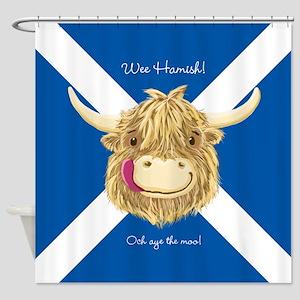 Wee Hamish Happy Scottish Cow (Saltire) Shower Cur