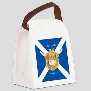 Wee Hamish Happy Scottish Cow (Saltire) Canvas Lun