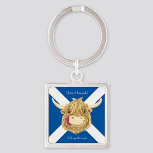 Wee Hamish Happy Scottish Cow (Saltire) Keychains