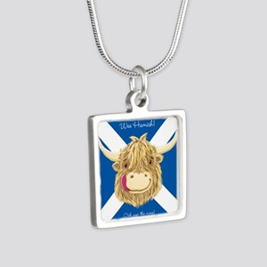 Wee Hamish Happy Scottish Cow (Saltire) Necklaces