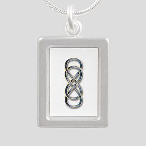 Double Infinity Cloisonne Blue Gold 2 Necklaces
